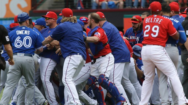 Blue jays vs Rangers brawl