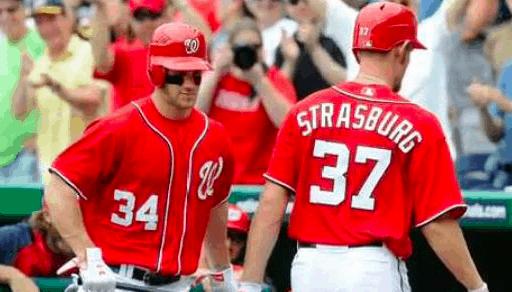 Washington Nationals Bryce Harper Stephen Strasburg