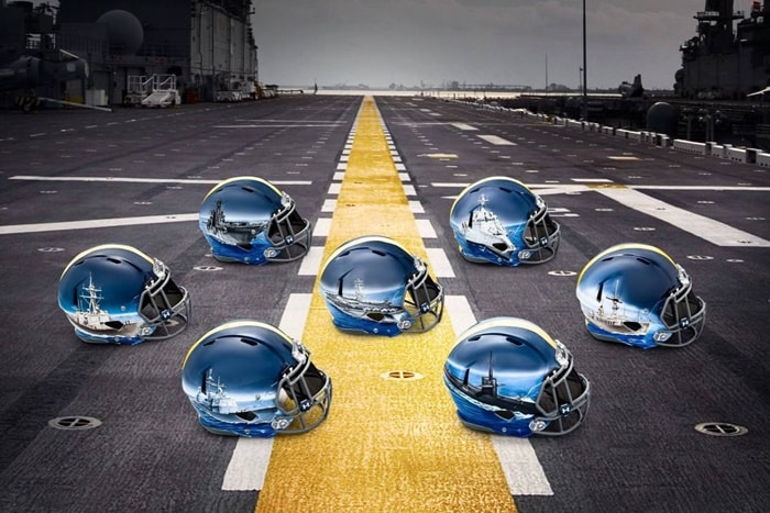 Navys helmets for the 2015 game. Pic via @SuperBurger57